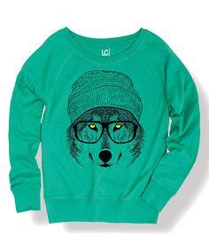 Look what I found on #zulily! Jade Hipster Wolf Scoop Neck Sweatshirt #zulilyfinds