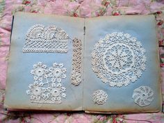 Lace samples kept in a book. So beautiful