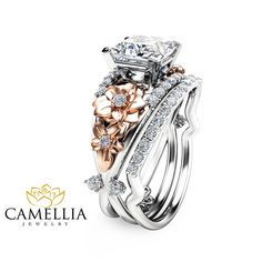 Floral Moissanite Engagement Ring Set Princess Cut Moissanite Ring 14K Two Tone Gold Engagement Ring with Matching Band