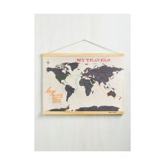 Dorm Decor Across-Stitch the World Map ($50) ❤ liked on Polyvore featuring home, home decor, wall art, home accessory, tan, wall decor, new york wall art, map wall art, new york home decor and map home decor