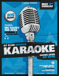 Karaoke Flyer Template on Behance Template Flyer, Event Poster Template, Music Sketch, Comedy Events, Ad Layout, Letter A Crafts, Print Design, Design Design, Stand Up Comedy