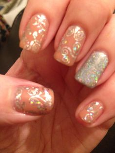 Cnd nude knickers shellac with silver foils and glitter