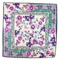 Foulard en soie carré écru bouquets parme 85 x 85 cm - Foulard/Foulard soie carré - Mes Echarpes