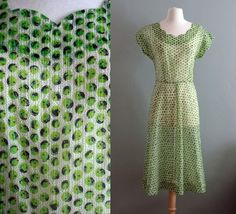 40s sheer Green Apple Day Dress