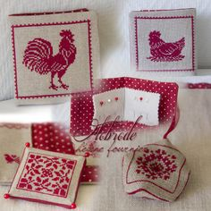 .red and white chickens