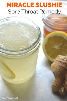 The Miracle Slushie Sore Throat Remedy - recipe created out of desperation for some serious, sore-throat relief. Made with all-natural ingredients. Kids love it as a summer slushie too! www.thekitchengirl.com