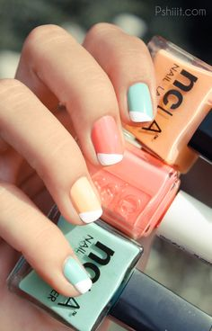 Colorful White Tip Nails               - Fancy Fingers!