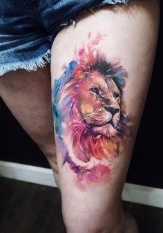 watercolor #lion #tattoo #© #tattoo #artist #Irina #Doroshenko #💗🐵💗🐵💗🐵💗🐵💗 ,  #artist #christiantattoo #Doroshenko #Irina #Lion #Tattoo #WATERCOLOR