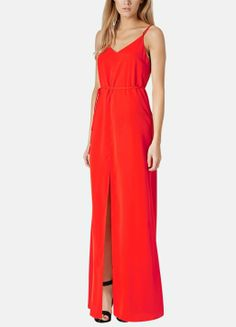 This red hot maxi dress is perfect for day or night.