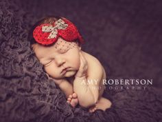 Baby Flower Headband Red Silk Handmade by LittleLovesDesigns, $20.95-for Sophie for Valentine's Day!