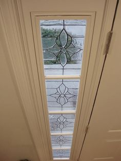 Beautiful DIY sidelight and transom for front door, done with Gallery Glass faux leaded glass product