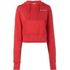 Re/Done Logo cropped hoodie ($381) ❤ liked on Polyvore featuring tops, hoodies, red, logo hoodies, cotton hoodie, logo hoodie, cotton hooded sweatshirt and red hoodies