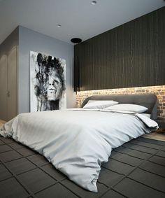 Schlafzimmer in Grau - kunstvolles Wandbild und Led Wandbeleuchtung
