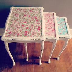 """Susan"" floral distressed nest of tables www.victoriamcdonald.co.uk"