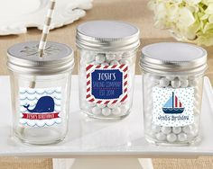 Personalized Glass Mason Jar - Kate's Nautical Birthday Collection (Set of 12)