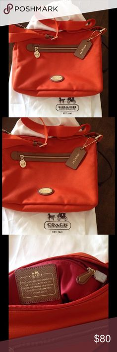 COACH PURSE AND DUST BAG NEW This is new only used 1 time. Color is burnt orange with gold accents. 12 inches across and 10 inches top to bottom. Very nice shoulder bag. Coach Bags Shoulder Bags