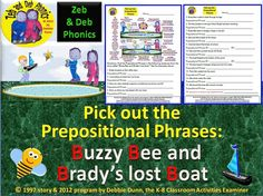 Zeb and Deb phonics 'Buzzy Bee worksheet': Pick out the prepositional phrases