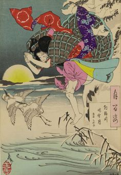 """Tsukioka Yoshitoshi, 1885 """"Moon of pure snow at Asano river: Chikako, the filial daughter, from the series One Hundred Aspects of the Moon"""""""