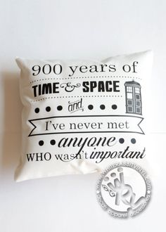 Doctor Who Time & Space PILLOW CASE Inspirational Quote Tardis Whovian