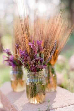 Lavender and Wheat wedding centerpieces Wheat Centerpieces, Non Floral Centerpieces, Rustic Wedding Centerpieces, Wedding Decorations, Lavender Centerpieces, Diy Centrepieces, Wildflower Centerpieces, Centrepiece Ideas, Table Decorations
