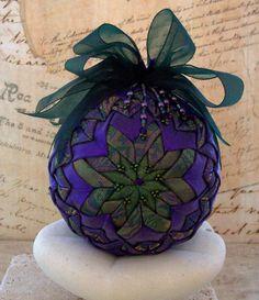 Victorian Ornament Folded Fabric Purple Green by LadyAbeada, $30.00