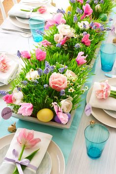 Grow-Your-Own Garden Centerpiece - wheatgrass and flowers and butterflies in place of eggs for summer