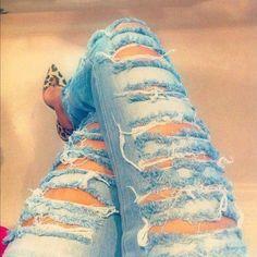 calça jeans manchada feminina - Pesquisa Google
