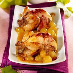 Découvrez la recette Cailles en cocotte au raisin et au cognac sur cuisineactuelle.fr.