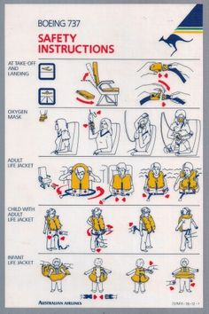 Australian Airlines 737 Safety Card