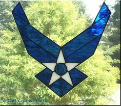 USAF logo stained glass window - Help Us Salute Our Veterans by supporting their businesses at www.VeteransDirectory.com, Post Jobs and Hire Veterans VIA www.HireAVeteran.com Repin and Link URLs