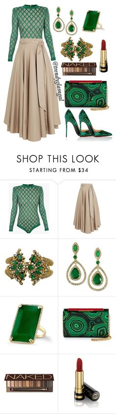 """""""Green Bodysuit"""" by trendyglamgal ❤ liked on Polyvore featuring Balmain, TIBI, Miriam Haskell, Effy Jewelry, Anne Sisteron, Christian Louboutin, Urban Decay and Gucci"""