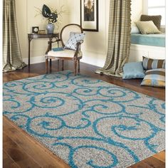 Soft Cozy Contemporary Scroll Turquoise Grey Indoor Shag Area Rug (3'3 x 5')