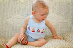 Baby Boy Anavini Smocked Sailboat Bubble Sunsuit Outfit 12m 18m Summer Beach