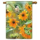 Sunflower Chickadee House Flag found at wilds birds unlimited