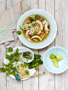 Chicken Pho, a classic Vietnamese soup, is a perfect recipe for a slow cooker. The chicken and seasonings of star anise, cloves and ginger simmer all day in the crock pot, welcoming you home with an alluring aroma. Serve with the essential garnishes for pho soup—fresh herbs, bean sprouts, chiles and lime—and let everyone top their own. Serve chile-garlic sauce for those who want more heat.