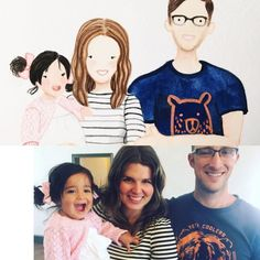 """Turn your favorite photograph into a """"mini"""" style portrait!!!!! A-d-o-r-a-b-l-e!!!! I can't get over the cuteness of this style. They're my current favorite.   I had so much fun painting this sweet sweet sweet family !!!!!"""