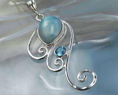 Larimar Necklace - Larimar Blue Topaz Pendant - Silver Wave Swirl Gemstone Necklace - Unique Ocean Inspired Blue Topaz Larimar Jewelry. $115.00, via Etsy.