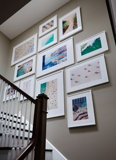 Treppenhaus Idee mit Reisephotos