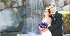 wedding couple by the waterfall - Inn at Laurel Point