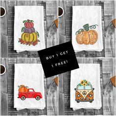 Halloween Flour Sack Tea Towels You can still enjoy Halloween, dress up your kitchen or treat a few of your friends with Halloween Flour Sack Tea Towels themed with witches, pumpkins and more.