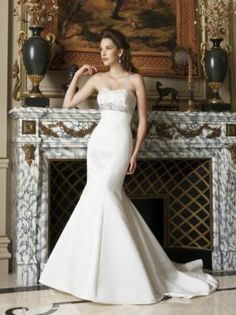 Sexy TrumpetChapelMermaid Strapless Floor-length Chapel Beaded Wedding Dresses, #Wedding Apparel  #Wedding Dresses  #MarketPricde $265.00  But now Only #$157.49