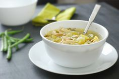 Chicken Soup - a tasty, hearty and comforting without all the guilt.      4 cups chicken broth,     1 lb chicken breasts, chopped or shredded,     1 cup celery, chopped,     1 cup yellow squash, chopped,     2 cups zucchini, chopped,     1 cup onions, chopped,     ½ cup green beans, chopped,     1 teaspoon basil,     1 teaspoon salt,     black pepper,     celery salt (optional).