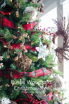 Rustic Christmas Tree with lots of texture and plaid!