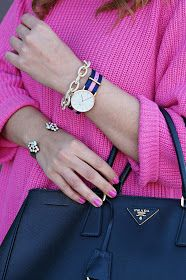 Arm candy, Daniel Wellington watch, Pink oversized sweater, liquid leggings, western style ankle booties, floral print booties, prada tote, black and pink outfit, street style, nyfw style, black fedora hat, lookbook