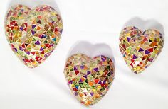 Mexican Glass Mosaic -- Multi-color hearts
