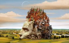 DIY frame Head City Castle Surrealism Landscape Scenery Fantasy Artwork Fabric Silk Poster Print Picture For Home Decoration Balloon Tree, Canson, Surrealism Painting, Modern Surrealism, Painting Wallpaper, Nottingham, Surreal Art, Fantasy World, Fantasy City