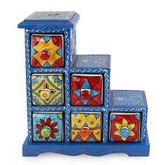 Wood and ceramic box, 'Azure Gujurat' - Six Hand Painted Ceramic Drawers in Blue Mango Wood Box