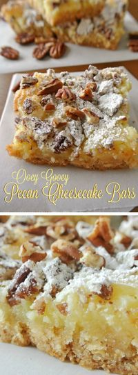 These Ooey Gooey Pecan Cheesecake Bars recipe from Easy Peasy Pleasy have just a little cake mix, some cream cheese, butter and it makes one heck of a dessert! Pecan Desserts, Pecan Recipes, Easy Desserts, Sweet Recipes, Cookie Recipes, Delicious Desserts, Yummy Food, Diabetic Desserts, Bar Recipes