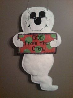 Ghost Burlap Door Hanger by TrucksCreativeCrafts on Etsy, $30.00