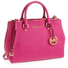 MICHAEL Michael Kors 'Medium Sutton' Saffiano Leather Tote (220 CAD) ❤ liked on Polyvore featuring bags, handbags, tote bags, accessories, bolsas, michael kors, structured tote bag, michael michael kors tote, pink tote bag and michael michael kors purse